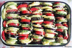 патладжан, домати и тиквички